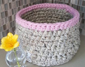 Crochet Basket, Storage Basket, Yarn Basket, Fun Gift, Handmade Basket, Round Basket, Home Organization, Housewarming Gift, Home Storage