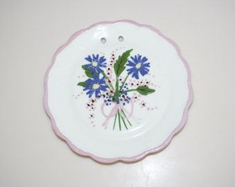 """Cleminsons Pink & Purple Flower Floral California Pottery Ceramic Plate Dish Wall Hanging 5"""""""