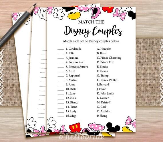 Disney Couples Match Game Printable Disney Bridal Shower