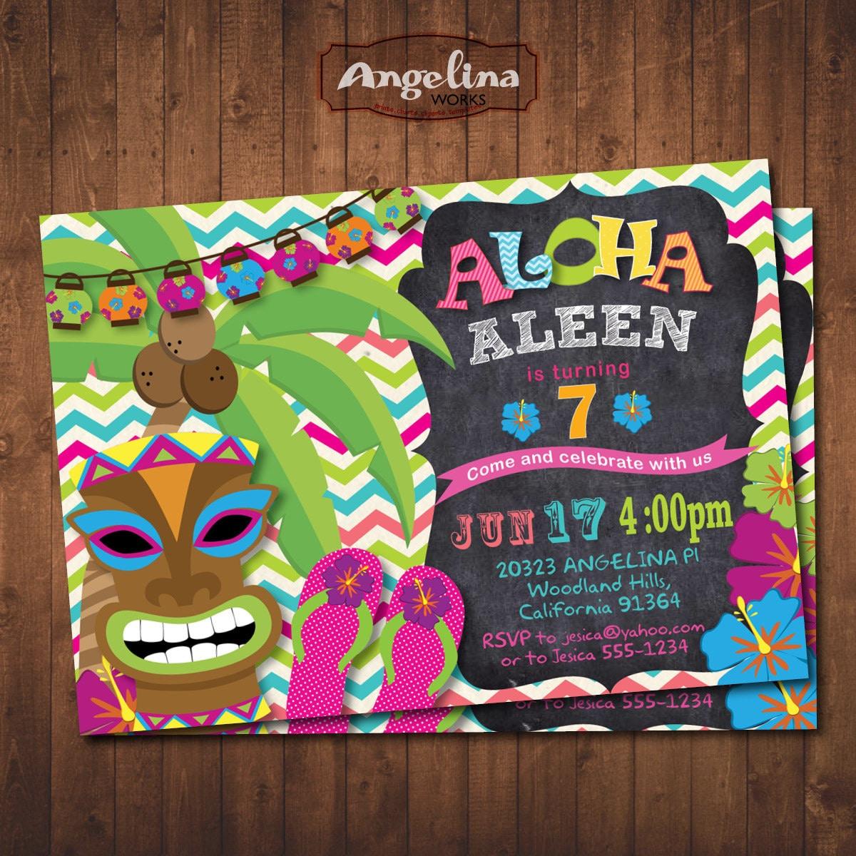 Invitaci N De Fiesta Hawaiana Aloha Fiesta De Cumplea Os  # Muebles Hawaianos