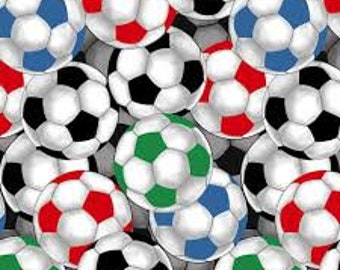 """Packed Multi Color Soccer Balls from David Textiles, by the half yard, 44"""" wide, 100%cotton, novelty fabric, soccer fabric, sports fabric"""