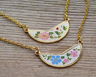 Floral Bib Necklace, Vintage Enamel Flowers Pendant, Layering Necklace, Pink and Blue Flower Pendant, Minimalist Necklace, Mother's Day