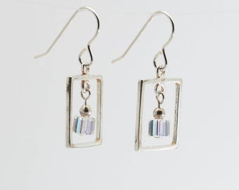 Clear Swarovski Crystal Frame Earrings / Sterling silver and crystal dangle earrings / April diamond birthstone earrings / Gift for her