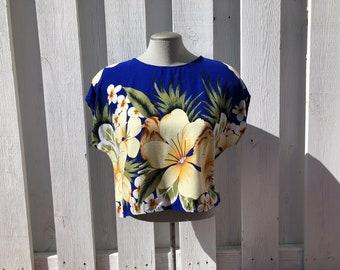 vintage cropped tshirt, tropical printed crop top, beach tshirt, vintage resort wear, vintage beach wear- 80s/90s