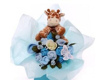 Baby Bouquet, baby boy clothing, soft giraffe toy, gift bouquet clothing, baby clothing, baby boy gift, maternity leave gift, gift idea boy