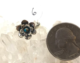 Blue Copper Turquoise Daisy Ring Size 6