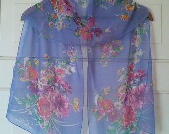 Ralph Lauren silk chiffon floral scarf //  iconic American designer, semi sheer silk, vivid floral, spring and summer scarf