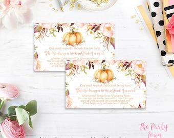 Pumpkin Book Request, Little Pumpkin Book Instead of Card, Book in Lieu of Card, Floral, Girls fall autumn Baby Shower Printable