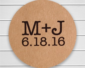 Save The Date Stickers, Save the Date or Wedding Envelope Seals, Kraft Wedding Stickers (#150-KR)
