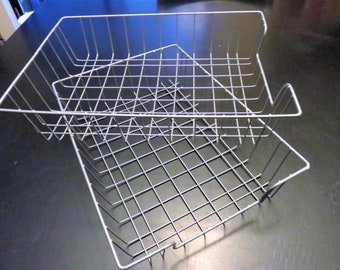 Metal Wire Desk Basket Set of (2), Wire Tray Set of (2), Organizing Basket, Office Organization, Crafts, Wire Crafting, Industrial Office