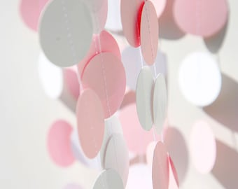 Pink paper garland, Girl baby shower, Babies party decoration, Pink & white garland, Paper garland, First Birthday party, KC-1069