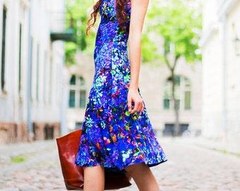 Fit and Flare Dress, Blue A-Line Dress, Jersey Dress, Floral Print Dress, Blue Dress, V Neck Dress, Skater Dress, Flower Dress, Casual Dress