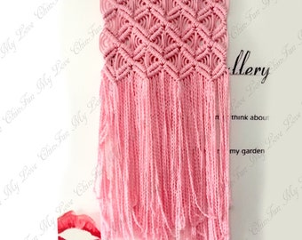 Handmade Macrame Knotted Wall Hangings,Pink Macrame Wall Decoration,Wall Art,Fiber Wall Tapestry,Bohemian Art,Boho Wall Hanging,Home Decor