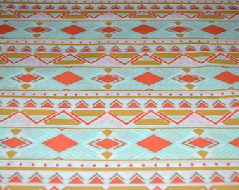 Tribal Fabric, Tribal Study Aura, Aztec Fabric, Art Gallery Fabric, Premium Quilting Cotton, Coral and Mint Fabric, A-8