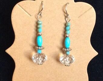 Sterling silver swarovski crystal turquoise earrings