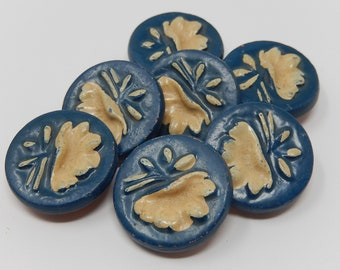 Seven ceramic buttons, diameter 2.7 cm, free shipping