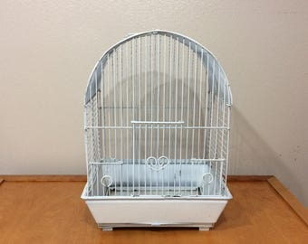 White Metal Wire Bird Cage - Vintage Shabby Chic