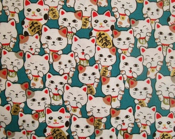 Fat quarter cotton Japanese fabric - all manekineko