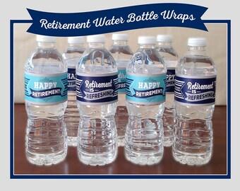 Retirement Water Bottle Wraps, Printable, Navy, Turquoise, 2 Designs, Happy Retirement, Retirement is Refreshing