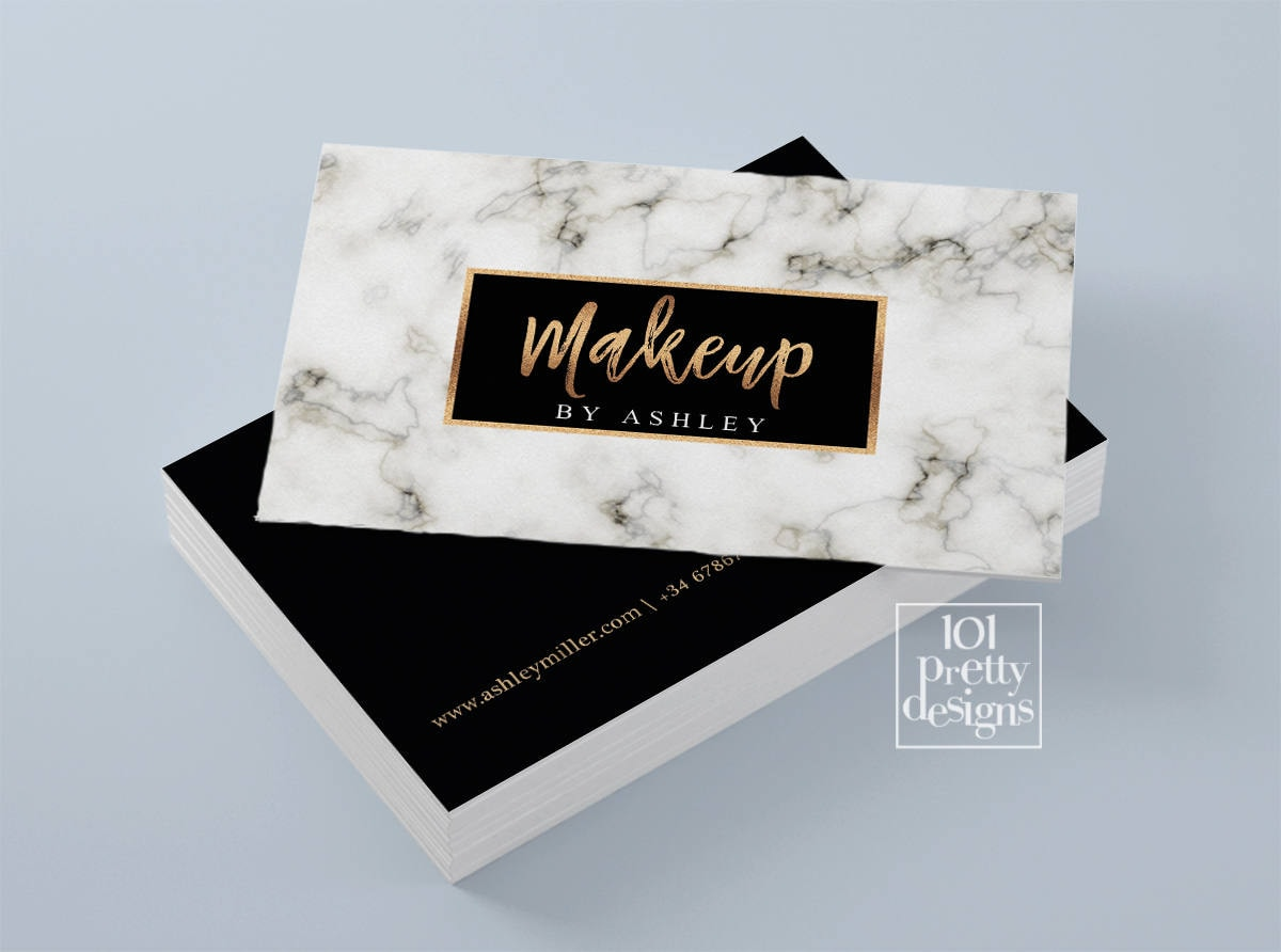 Golden business card modern business card design white marble