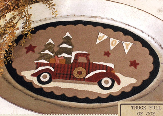 Christmas Truck Wool Table Mat Wool Applique Patterns