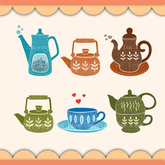 Kitchen Art Printables Collection Sale Instant Download: Digital Clip Arts Cup Of Tea. Cute Kitchen Clipart Images For