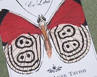 Personalized bookplate with vintage butterfly illustration