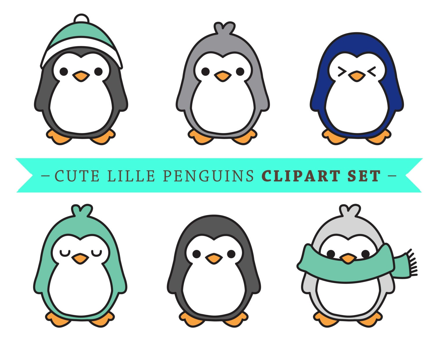 premium vector penguin clip art cute penguin clip art rh etsy com  cute girl penguin clipart