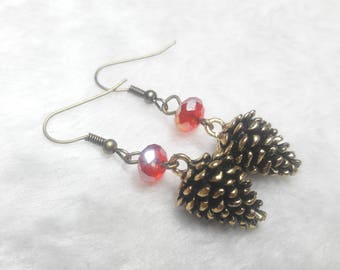 Pine cones red earrings