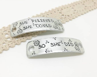 She believed she could Trainer Tags, Sneaker Tags, Gift for Runner, Keep Fit, Trainer Accessories, Runningshoe Tag, Marathon gift, Gym gift