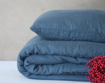 Linen duvet cover, linen bedding, eco linen, duvet cover, dark gray blue color, grey bedding, bedding set, blue bedding, custom sewing