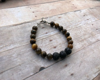 Tigers Eye Essential Oil Diffuser Bracelet Lava Bead Gemstone Bracelet Doterra Bracelet Diffuser Bracelet Aromatherapy bracelet