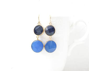 Cornflower and Blue Jade Double Stone Hook Gold Plated Earrings
