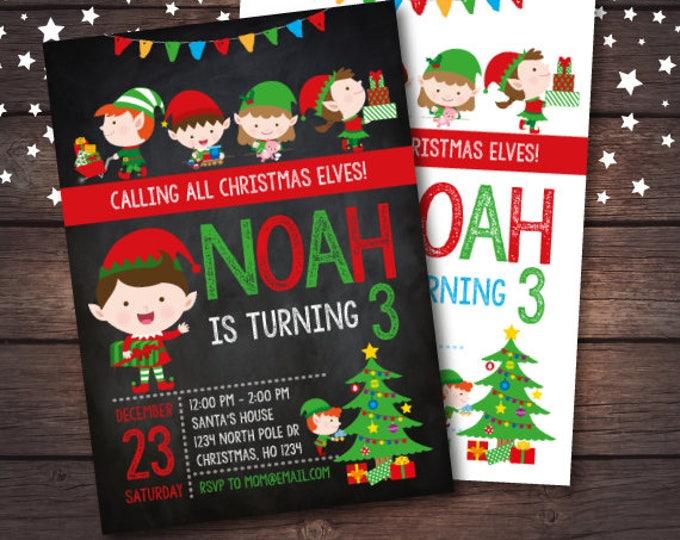 Elves Invitation, Holiday Party Invitation, Christmas Party, Christmas Birthday Invitation, DIGITAL