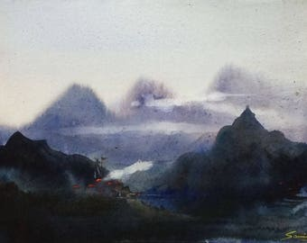 Misty Himalaya Landscape - Original Watercolor Painting on Paper , Mountain,himalaya,landscape,mountain landscape