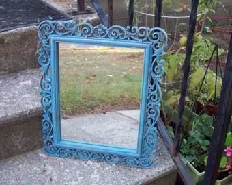 Vintage Wall Mirror by Dart Ind. Homco hand painted Annie Sloan Giverny & gold highlights, Royal blue, Fleur de lis scroll, rustic decor
