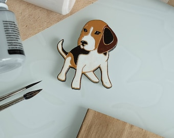 Beagle pin Dog brooch Gift for beagle lover Funny beagle Gift for dog lover Dog gift Beagle dog Brooch puppy Wooden pin