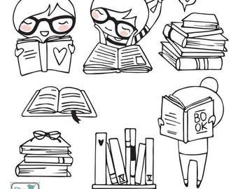Planner Girl - Bookworm Stamp Clipart - Planner Stickers, scrapbook , card design, invitations, paper crafts, web design, INSTANT DOWNLOAD