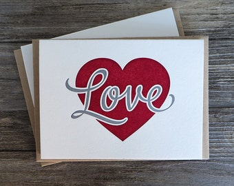 Love Heart Letterpress Card