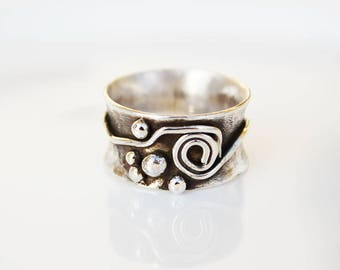 Sterling silver Ring. Wide ring. Wide silver ring.