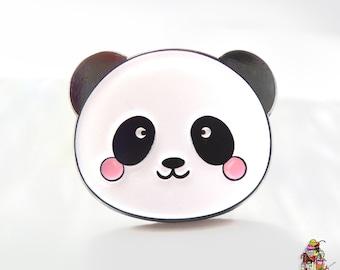 kawaii Panda bear soft enamel pin - black and white lapel pin
