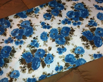 Vintage 1960's Blue Floral Print Cotton Fabric - 2 Yards