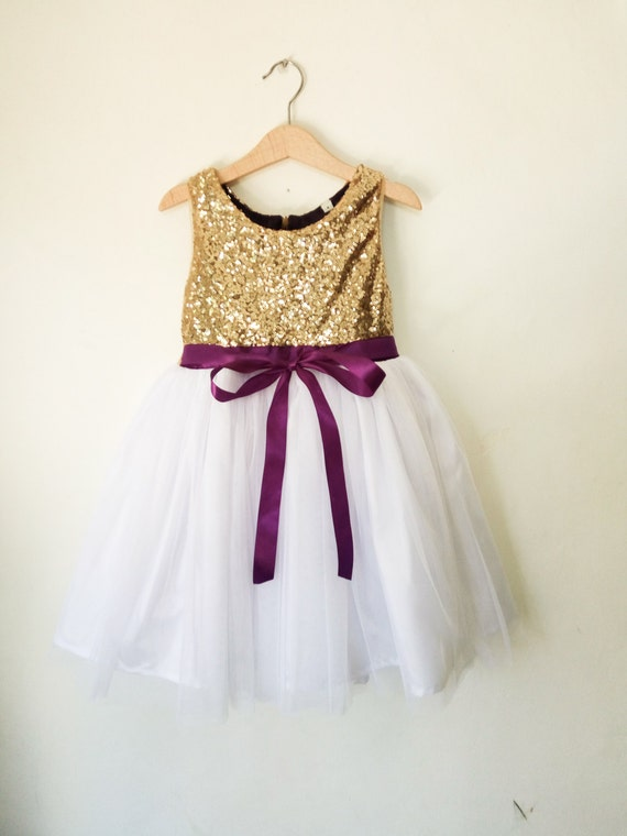 Flower girls dress gold white and purple gold sequined mightylinksfo Gallery