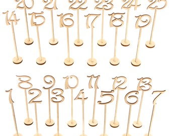 Wooden Table Numbers 1-25 Pack THICK HEAVY DUTY Vintage Wedding Home Birthday Party Event Banquet Decor Anniversary Decoration Favors Signs