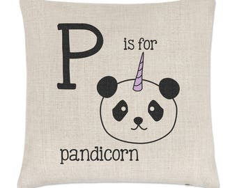 Letter P Is For Pandicorn Linen Cushion Cover