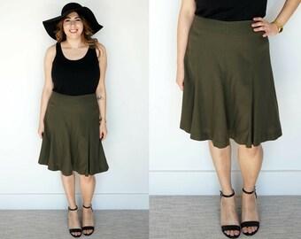 1990s Green Wool Skirt