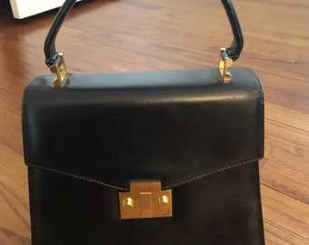 Tiffany & CO. Black Leather Structured Handbag with Brass Accessories and Attachable Strap- Excellent Vintage Condition