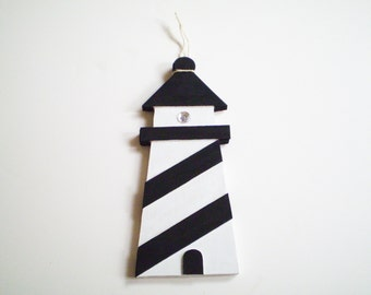 Black and White Lighthouse Decor, Lighthouse Wall Hanging, Black White Nautical Decor, Lighthouse Decor, Black and White Decor