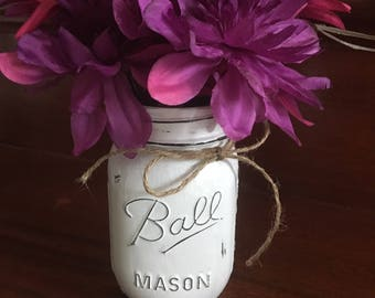 Vintage Antique Distressed Glass Ball Mason Jar with fake flowers