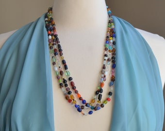 Indian Bead Necklace - Layering Necklace - Boho Bead Necklace - Colorful Glass Bead Necklace